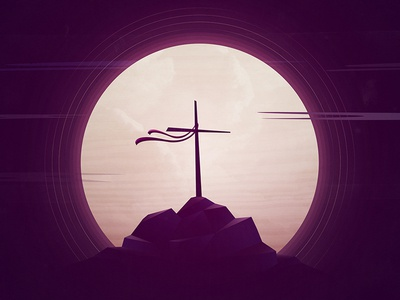 Holy Saturday cross easter jesus holiday illustration vector gradient josh warren moon clouds rock texture
