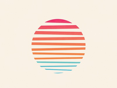 Minimal Sunset sun gradient ocean waves lines blend josh warren retro texture sunrise sunset