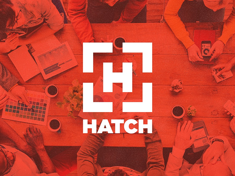 Hatch red business bellingham downtown branding simple minimal arrow logo hatch