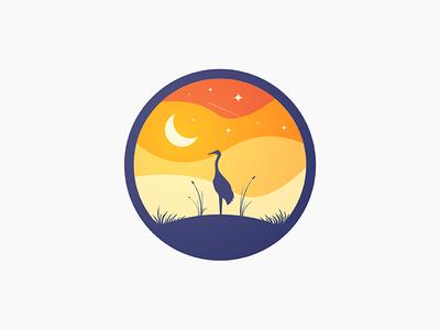 Crane Fields illustration vector logo icon circle minimal gradient sunset crane moon outdoors nature