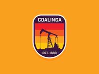 Coalinga, CA home sunset minimal typography type illustrator vintage retro badge pump oil