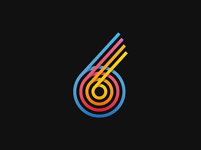 6k icon logo color circle retro design six number minimal gradient illustration vector