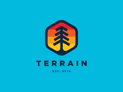 Terrain sticker icon logo abstract minimal tree retro vintage sunset camping outdoor terrain