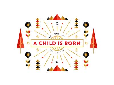 A child is born verse minimal letterpress screen print holiday gold flower sun tree christmas