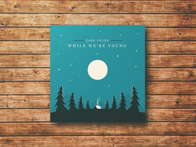 While Were Young - Album artwork minimal vector illustration stars moon tree outdoors nature album cd
