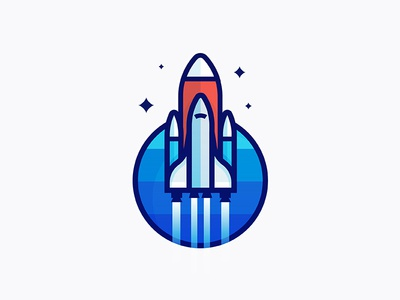 Never stop learning rebound shopify stars sticker vector thicklines illustration launch rocket