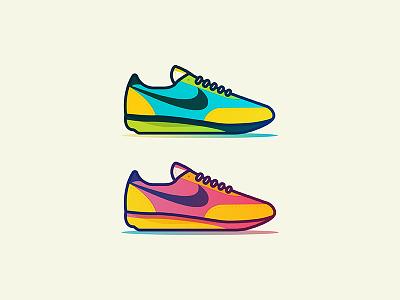 Vintage kicks vintage gradient vector illustrator illustration logo icon shoe nike