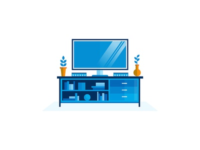 Tv Stand blue shadow home speaker flower movies editorial vector illustrator illustration stand tv