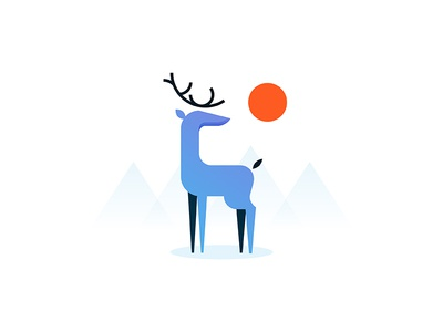 Stag vector illustration nature outdoors mountain sun minimal animal stag deer