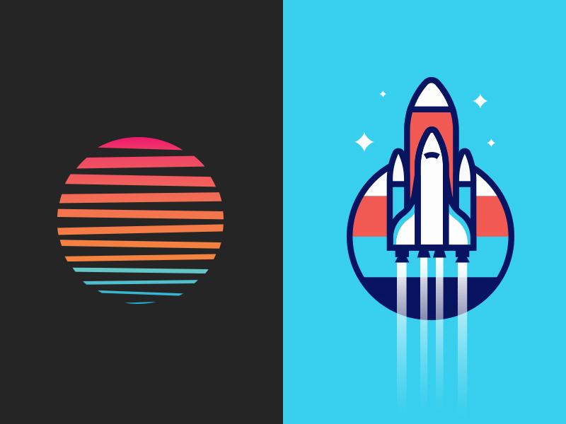 Shirts on shirts vector illustrator illustration logo branding apparel screenprint minimal sun rocket shirt