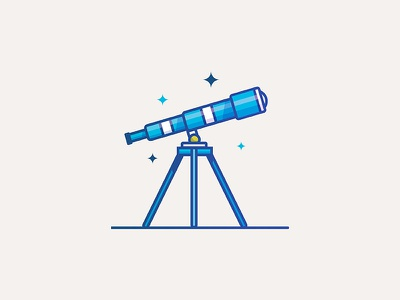 Tele tripod minimal highlight stars space thick lines editorial ui illustration vector telescope