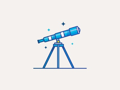 Tele tripod minimal highlight stars space thick lines editorial ui illustration vector telescope