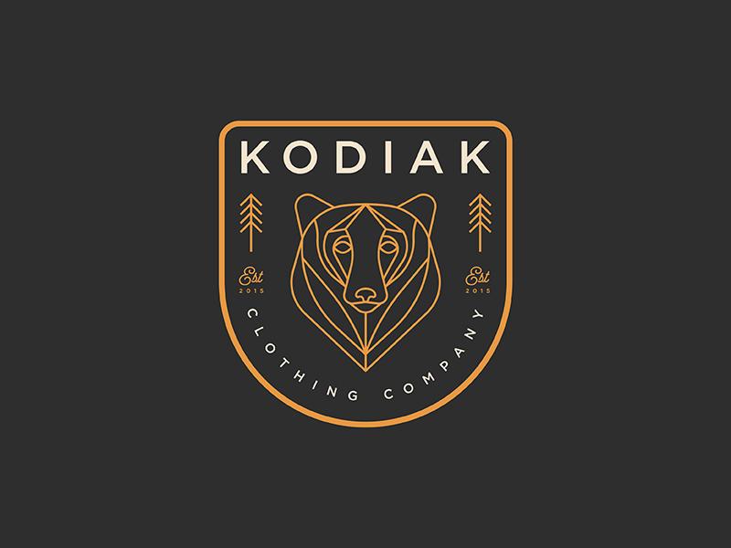 Kodiak clothing illustration typography apparel nature tree branding logo patch badge minimal bear line art