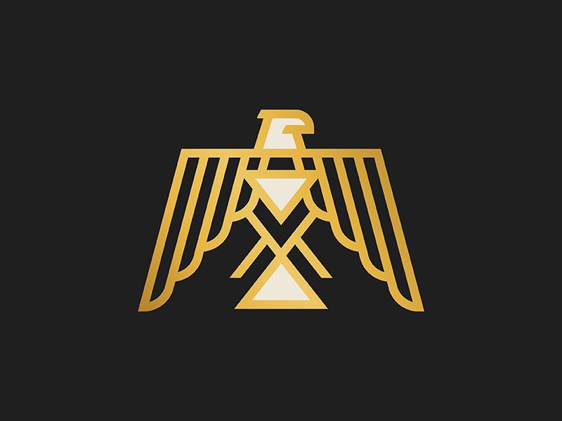 Thunderbird minimal gold monoline icon logo illustration native thunderbird eagle bird