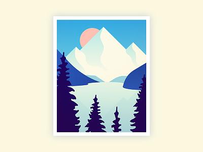 Lake Views shadow print art sun atmosphere minimal illustration tree nature mountain
