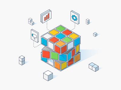 Iso-Kube health care hixme color complex grid isometric stroke illustration rubik cube