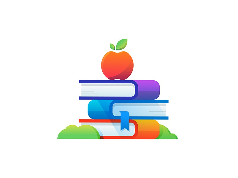 Educating to empower grass shadow gradient apple education books illustration icon healthcare health hixme