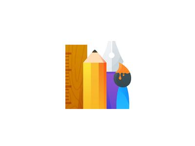 Tools crop minimal illustrator bezier pen paint brush pencil ruler illustration