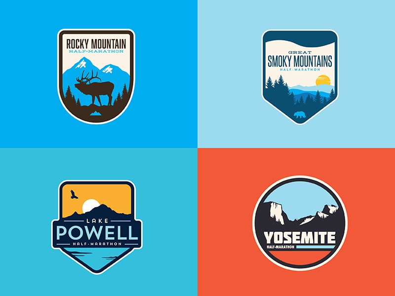 Natl. Park patch shirt race national park mountain outdoors illustration icon logo badge patch