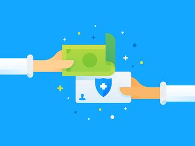 Cash vs. Insurance hixme sleeve patient illustration health insurance hand dollar money cash