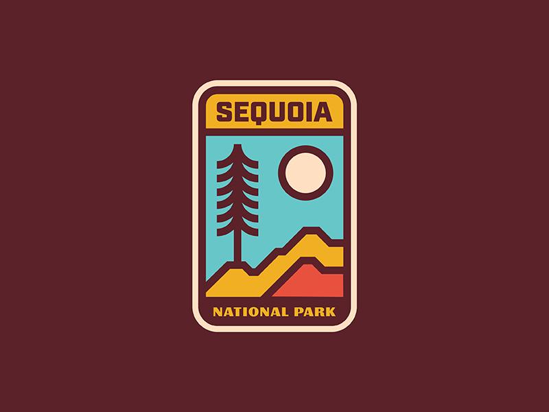Sequoia National Park vintage retro minimal patch badge nature mountain sequoia tree park