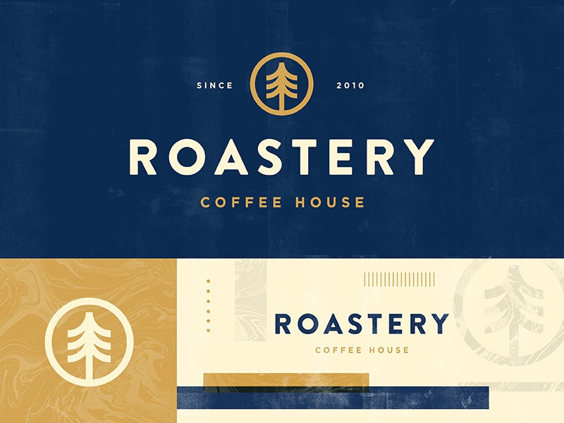 Roastery minimal packaging outdoors nature tree drink vintage icon branding shop logo coffee