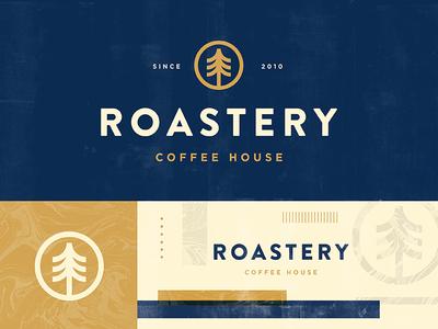 Roastery minimal packaging outdoors nature tree drink vintage icon branding shop logo coffee