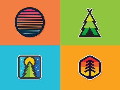 Sticker Shop vintage minimal retro illustration explore camping tree wilderness outdoors nature sticker stickers