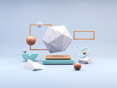 Unearth  polygon marble art abstract shading shadow matte gold minimal render 3d