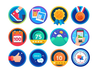 Mission:pic badges ux ui illustration cats gamification award medal fitness photography app badge