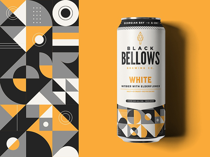 Black Bellows Can mockup minimal abstract brewery illustration pattern design can beer