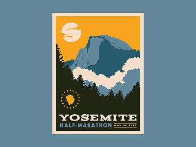 Yosemite Poster national park mountain tree cloud marathon travel hike half dome yosemite