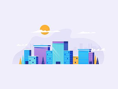 Purp City art direction illustration animation skyscraper sun cloud windy motion video city