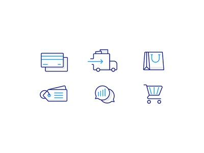 Ecommerce tag chat cart shopping bag delivery credit card illustration icon ecommerce