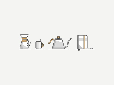Coffee things chemex mug notebook pour over halftone shadow illustration icon design coffee