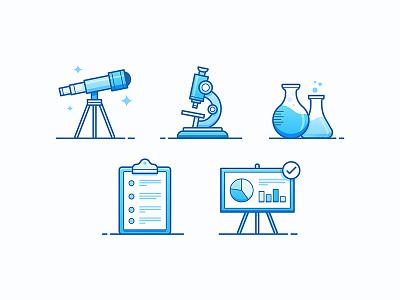 Research presentation data chart beaker lab microscope telescope science illustration icon research