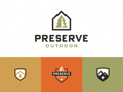 Preserve outdoor minimal crest bade tactical patagonia tree mountain nature preserve logo branding outdoors