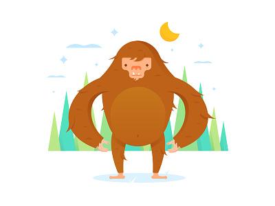 Squatch outdoor nature tree bigfoot mythology illustrator iconography icon illustration sasquatch