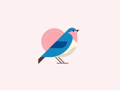 Sparrow birb shapes minimal retro animal nature logo illustrator icon illustration bird sparrow