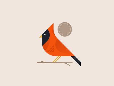 Cardinal birb minimal tree branch cardinal illustrator iconography icon illustration nature bird
