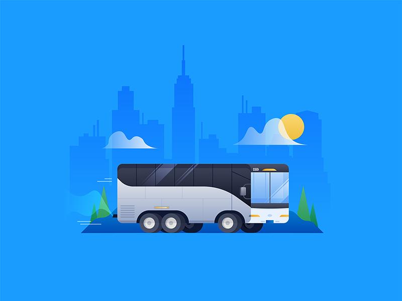 Bussin' around iconography icon illustrator illustration travel sun clouds new york bus