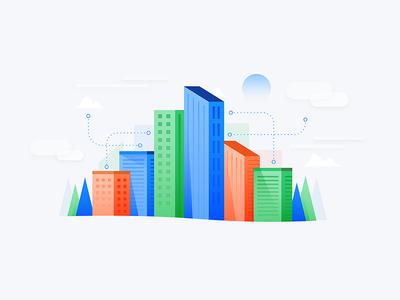 City Tech data business skyscraper cloud minimal animation icon illustration tech city