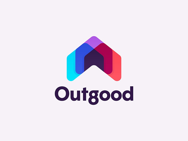 Outgood minimal typography help abstract shape gradient color overlap logo charity