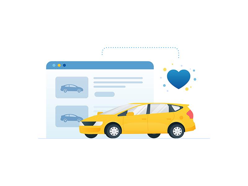 Carmax - Saved Car ux ui carmax heart app website icon illustration prius car