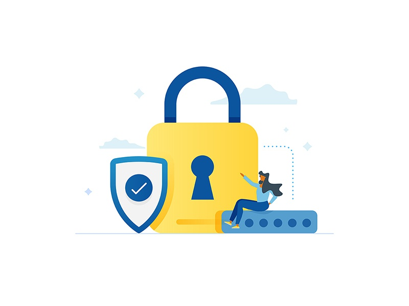 Carmax Security icon illustration cloud carmax female character password shield security lock
