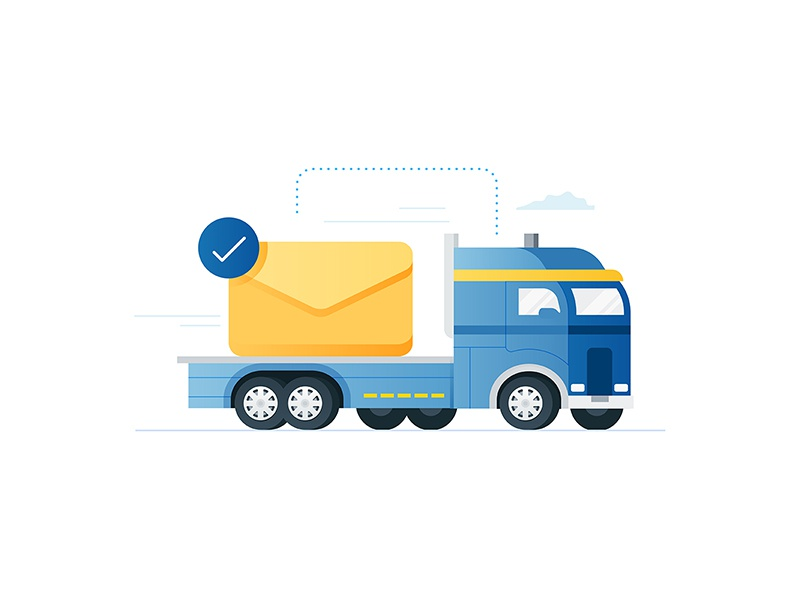 Carmax - Email Sent vehicle travel send cloud semi ux ui app illustration icon email truck