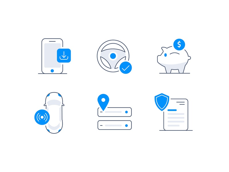 Insuretech insurance trips autonomous savings driving app vector illustrator illustration iconography icon tech