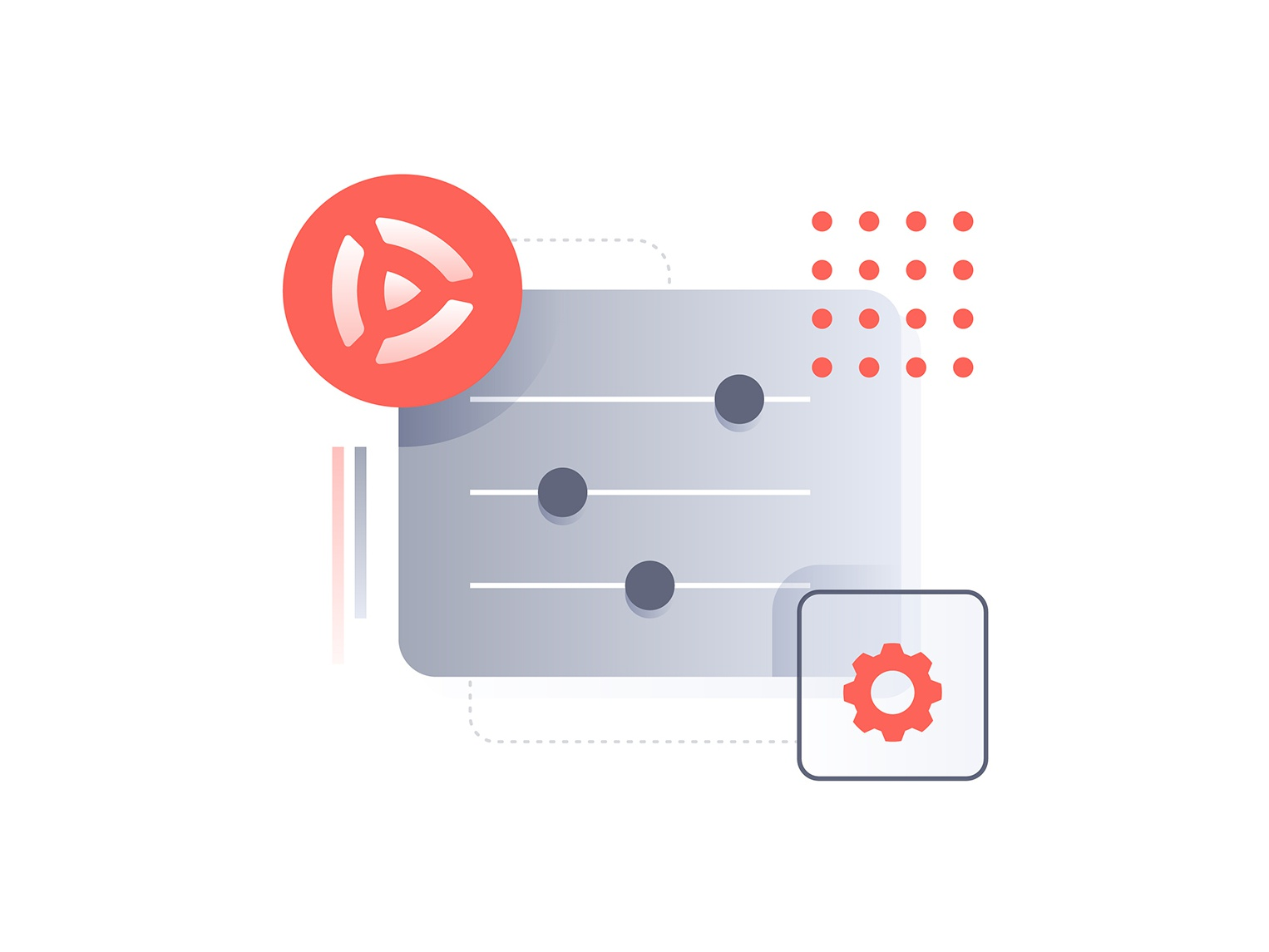 Settings ui tech video settings iconography vector design icon minimal illustration