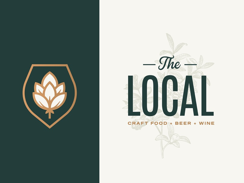 The Local typography plants wine beer restaurant food local branding logo