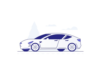Model 3 iconography icon minimal app insurance tesla ux ui auto illustration